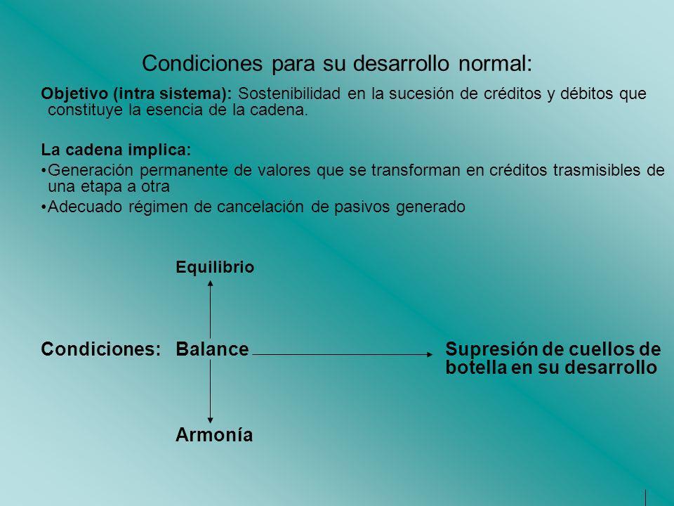 Condiciones para su desarrollo normal: Objetivo (intra sistema): Sostenibilidad en la sucesión de créditos y débitos que constituye la esencia de la c