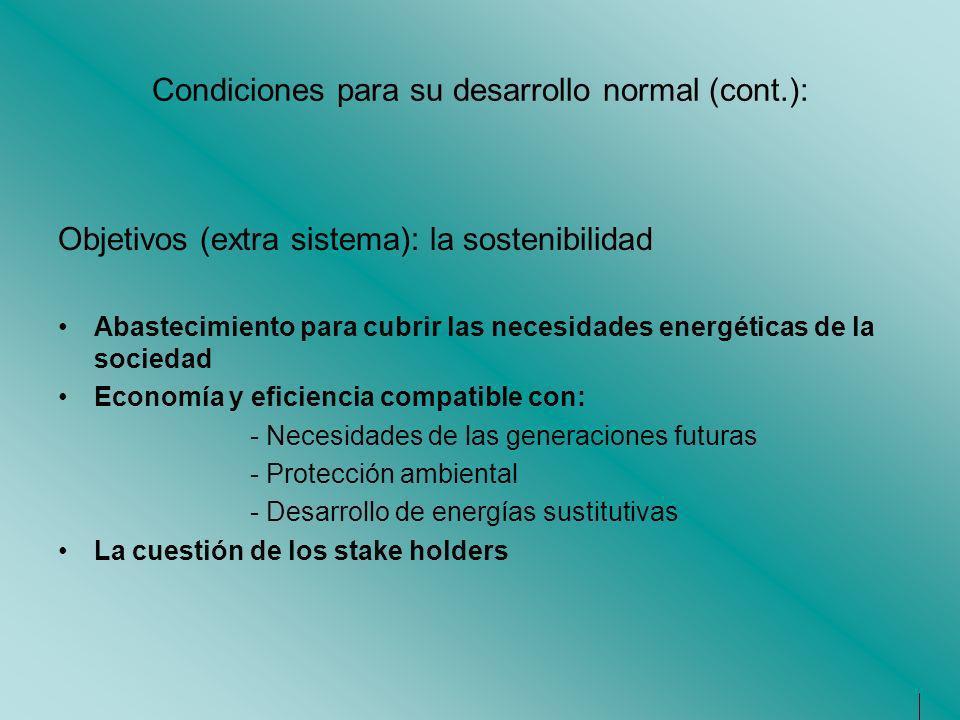 Condiciones para su desarrollo normal (cont.): Objetivos (extra sistema): la sostenibilidad Abastecimiento para cubrir las necesidades energéticas de