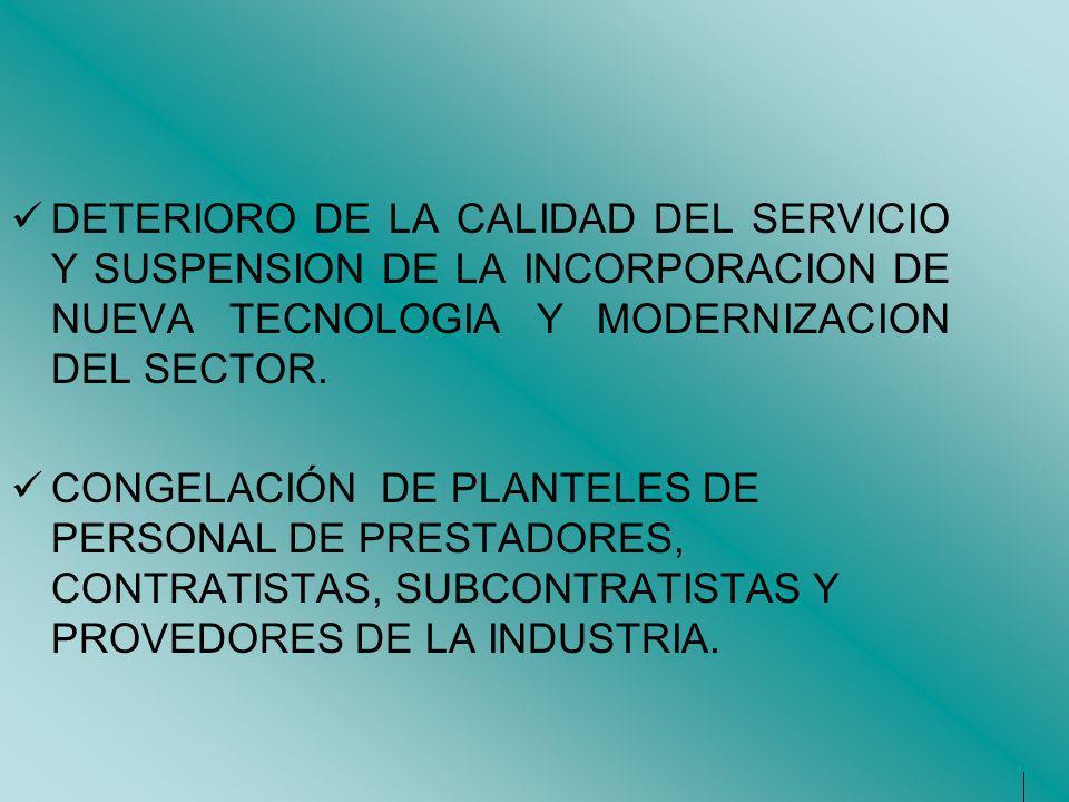 DETERIORO DE LA CALIDAD DEL SERVICIO Y SUSPENSION DE LA INCORPORACION DE NUEVA TECNOLOGIA Y MODERNIZACION DEL SECTOR. CONGELACIÓN DE PLANTELES DE PERS