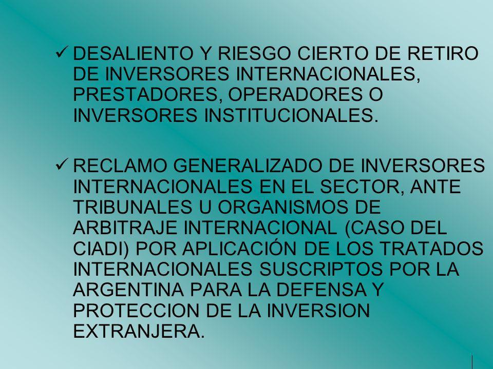 DESALIENTO Y RIESGO CIERTO DE RETIRO DE INVERSORES INTERNACIONALES, PRESTADORES, OPERADORES O INVERSORES INSTITUCIONALES. RECLAMO GENERALIZADO DE INVE