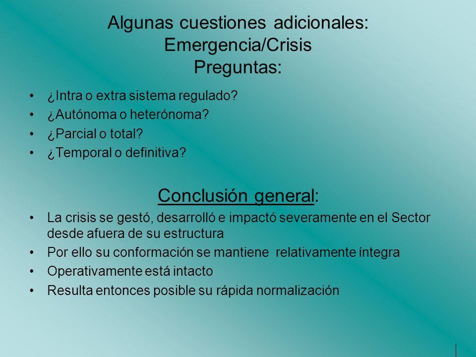 Algunas cuestiones adicionales: Emergencia/Crisis Preguntas: ¿Intra o extra sistema regulado? ¿Autónoma o heterónoma? ¿Parcial o total? ¿Temporal o de