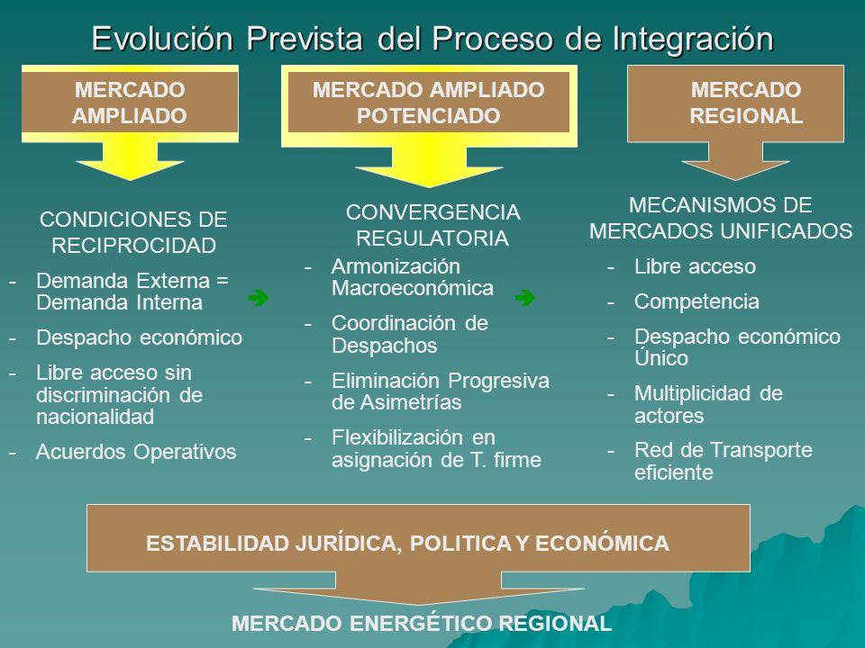 Evolución Prevista del Proceso de Integración MERCADO AMPLIADO MERCADO AMPLIADO POTENCIADO MERCADO REGIONAL CONDICIONES DE RECIPROCIDAD -Demanda Exter