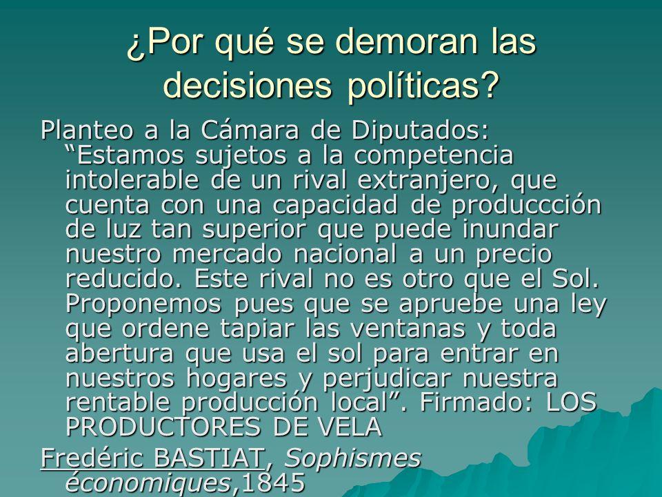 ¿Por qué se demoran las decisiones políticas? Planteo a la Cámara de Diputados: Estamos sujetos a la competencia intolerable de un rival extranjero, q