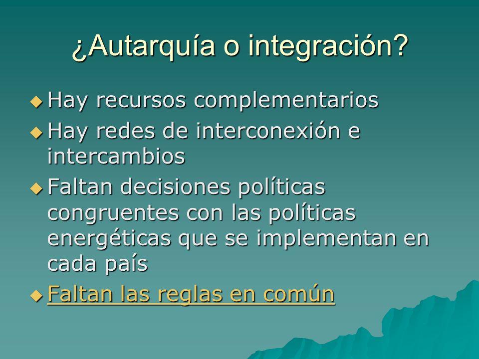 ¿Autarquía o integración? Hay recursos complementarios Hay recursos complementarios Hay redes de interconexión e intercambios Hay redes de interconexi