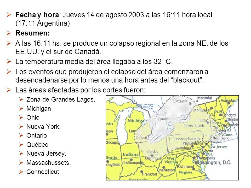 Fecha y hora: Jueves 14 de agosto 2003 a las 16:11 hora local. (17:11 Argentina) Resumen: A las 16:11 hs. se produce un colapso regional en la zona NE