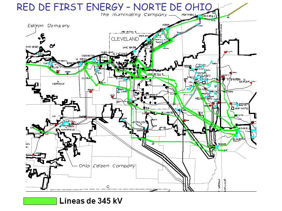 RED DE FIRST ENERGY – NORTE DE OHIO Líneas de 345 kV