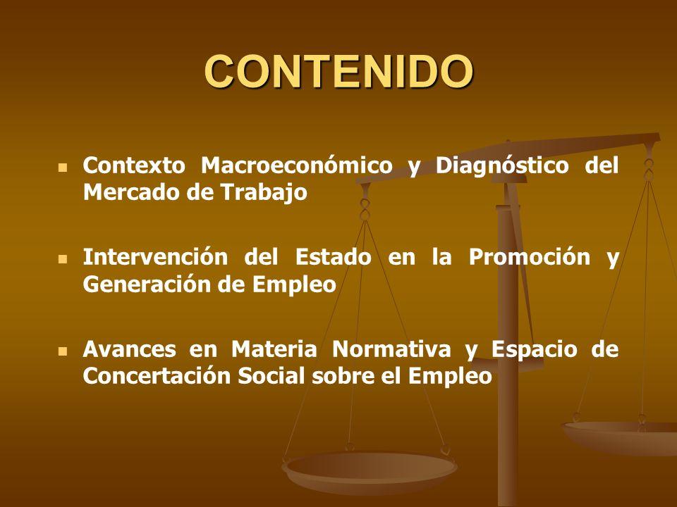 CONTENIDO Contexto Macroeconómico y Diagnóstico del Mercado de Trabajo Intervención del Estado en la Promoción y Generación de Empleo Avances en Mater