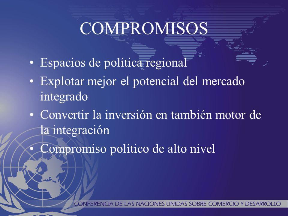 COMPROMISOS Espacios de política regional Explotar mejor el potencial del mercado integrado Convertir la inversión en también motor de la integración
