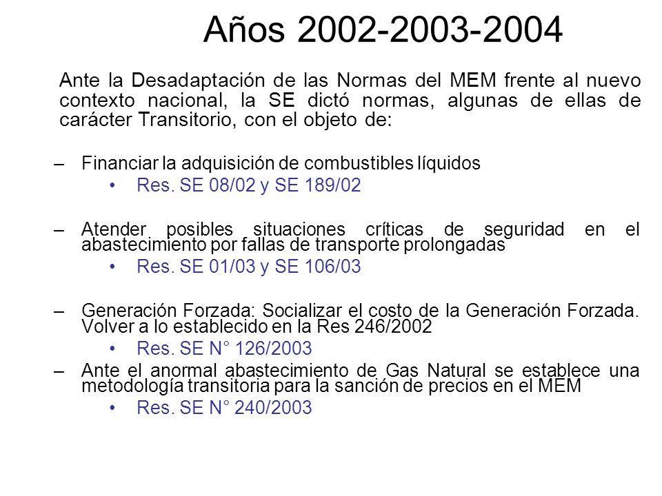 Años 2002-2003-2004 –Financiar la adquisición de combustibles líquidos Res. SE 08/02 y SE 189/02 –Atender posibles situaciones críticas de seguridad e