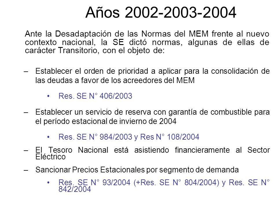 Años 2002-2003-2004 –Establecer el orden de prioridad a aplicar para la consolidación de las deudas a favor de los acreedores del MEM Res. SE N° 406/2