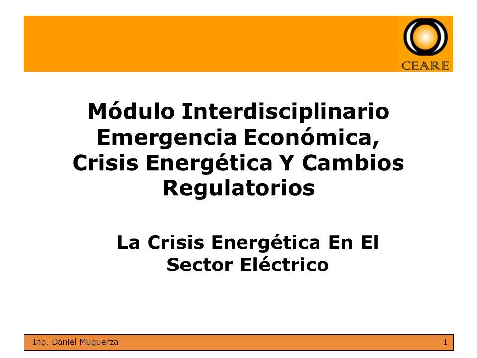 1 Ing. Daniel Muguerza Módulo Interdisciplinario Emergencia Económica, Crisis Energética Y Cambios Regulatorios La Crisis Energética En El Sector Eléc