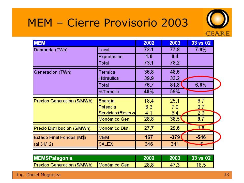 13 Ing. Daniel Muguerza MEM – Cierre Provisorio 2003