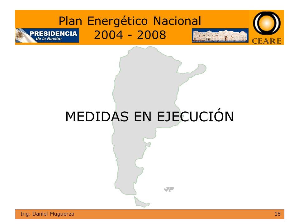 18 Ing. Daniel Muguerza MEDIDAS EN EJECUCIÓN Plan Energético Nacional 2004 - 2008