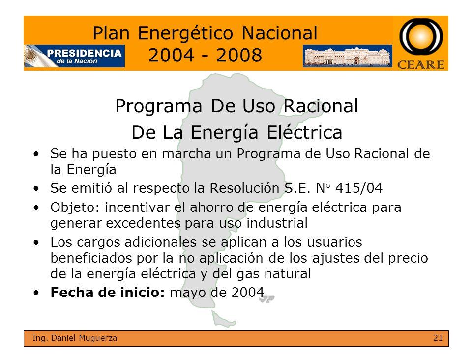 21 Ing. Daniel Muguerza Programa De Uso Racional De La Energía Eléctrica Se ha puesto en marcha un Programa de Uso Racional de la Energía Se emitió al