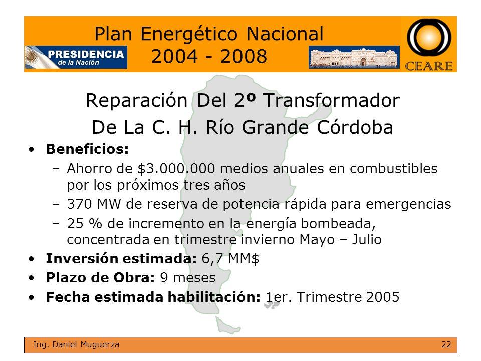 22 Ing. Daniel Muguerza Reparación Del 2º Transformador De La C. H. Río Grande Córdoba Beneficios: –Ahorro de $3.000.000 medios anuales en combustible