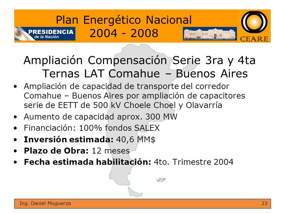 23 Ing. Daniel Muguerza Ampliación Compensación Serie 3ra y 4ta Ternas LAT Comahue – Buenos Aires Ampliación de capacidad de transporte del corredor C