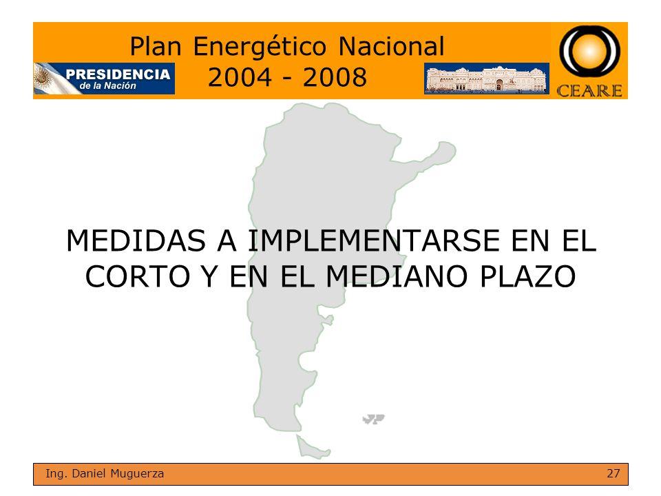 27 Ing. Daniel Muguerza MEDIDAS A IMPLEMENTARSE EN EL CORTO Y EN EL MEDIANO PLAZO Plan Energético Nacional 2004 - 2008