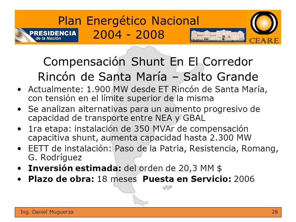 28 Ing. Daniel Muguerza Compensación Shunt En El Corredor Rincón de Santa María – Salto Grande Actualmente: 1.900 MW desde ET Rincón de Santa María, c