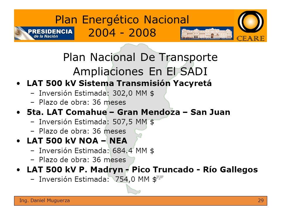 29 Ing. Daniel Muguerza Plan Nacional De Transporte Ampliaciones En El SADI LAT 500 kV Sistema Transmisión Yacyretá –Inversión Estimada: 302,0 MM $ –P