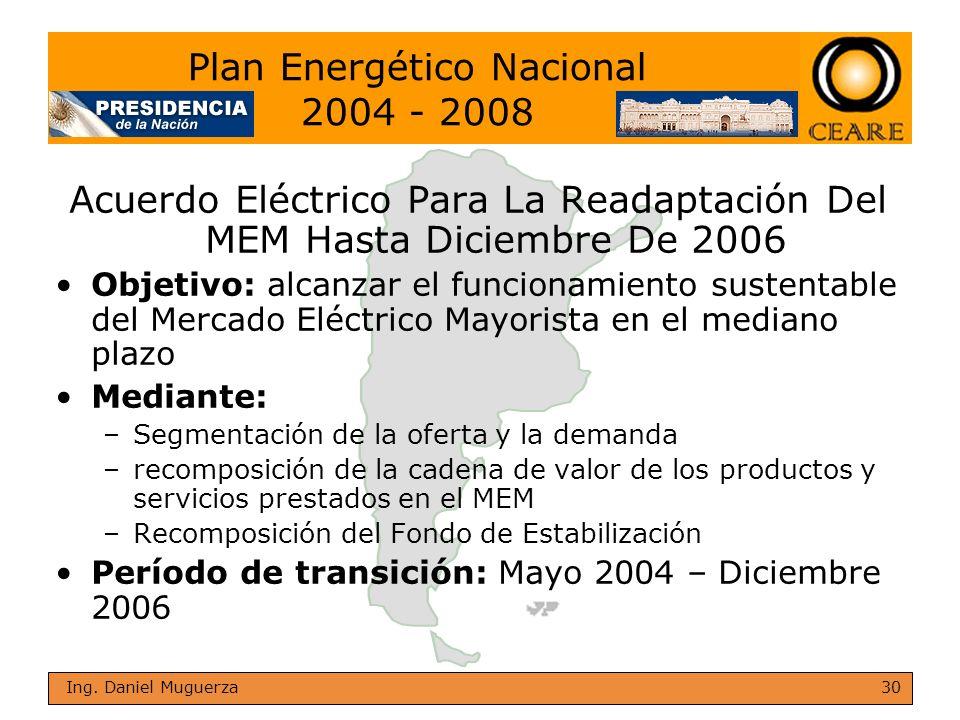 30 Ing. Daniel Muguerza Acuerdo Eléctrico Para La Readaptación Del MEM Hasta Diciembre De 2006 Objetivo: alcanzar el funcionamiento sustentable del Me
