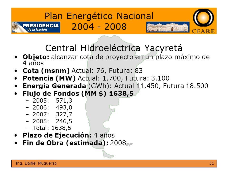 31 Ing. Daniel Muguerza Central Hidroeléctrica Yacyretá Objeto: alcanzar cota de proyecto en un plazo máximo de 4 años Cota (msnm) Actual: 76, Futura: