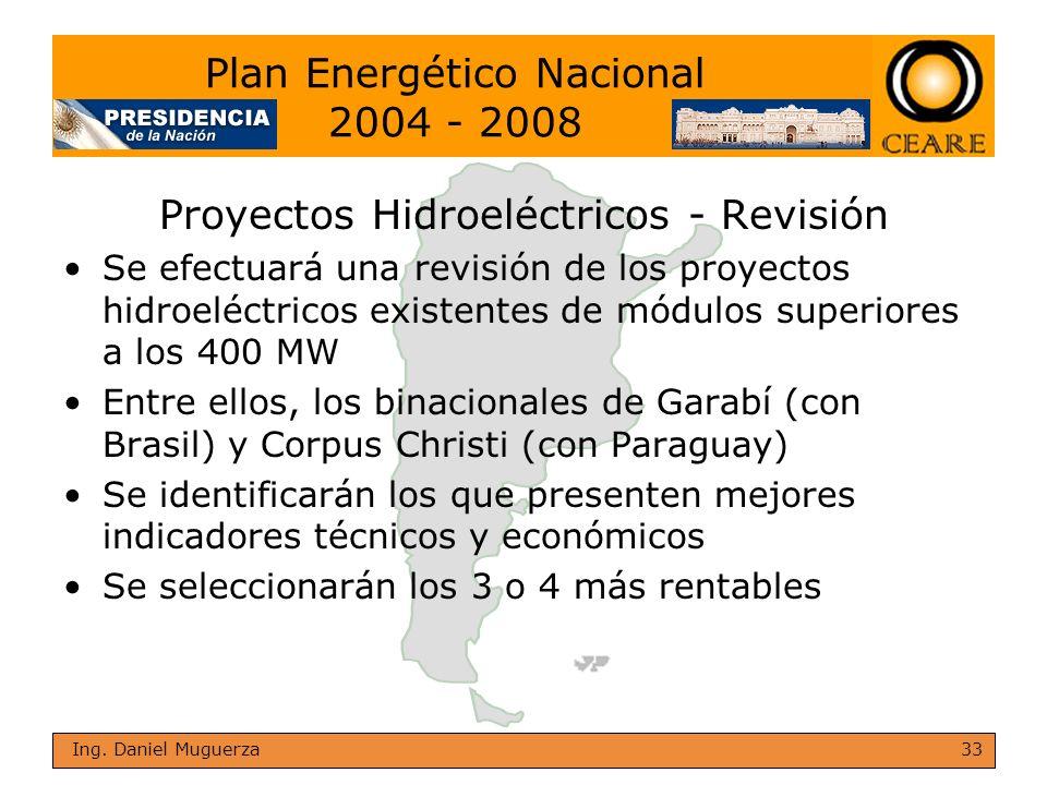 33 Ing. Daniel Muguerza Proyectos Hidroeléctricos - Revisión Se efectuará una revisión de los proyectos hidroeléctricos existentes de módulos superior