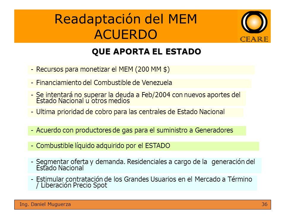 36 Ing. Daniel Muguerza -Recursos para monetizar el MEM (200 MM $) -Se intentará no superar la deuda a Feb/2004 con nuevos aportes del Estado Nacional