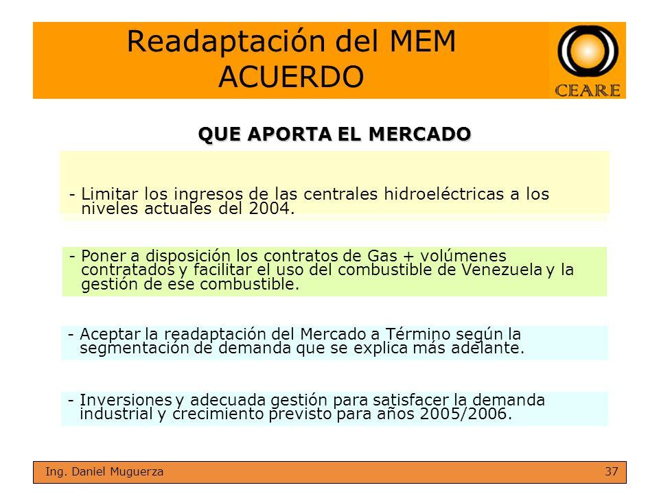 37 Ing. Daniel Muguerza Readaptación del MEM ACUERDO - Limitar los ingresos de las centrales hidroeléctricas a los niveles actuales del 2004. -Inversi