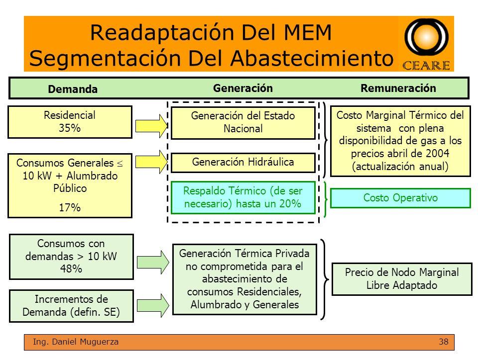 38 Ing. Daniel Muguerza Readaptación Del MEM Segmentación Del Abastecimiento Residencial 35% Consumos Generales 10 kW + Alumbrado Público 17% Consumos