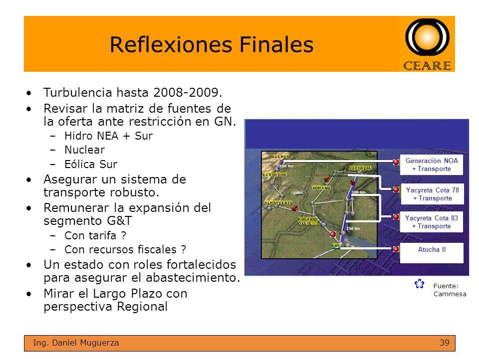 39 Ing. Daniel Muguerza Reflexiones Finales Fuente: Cammesa Generación NOA + Transporte Yacyreta Cota 78 + Transporte Yacyreta Cota 83 + Transporte At
