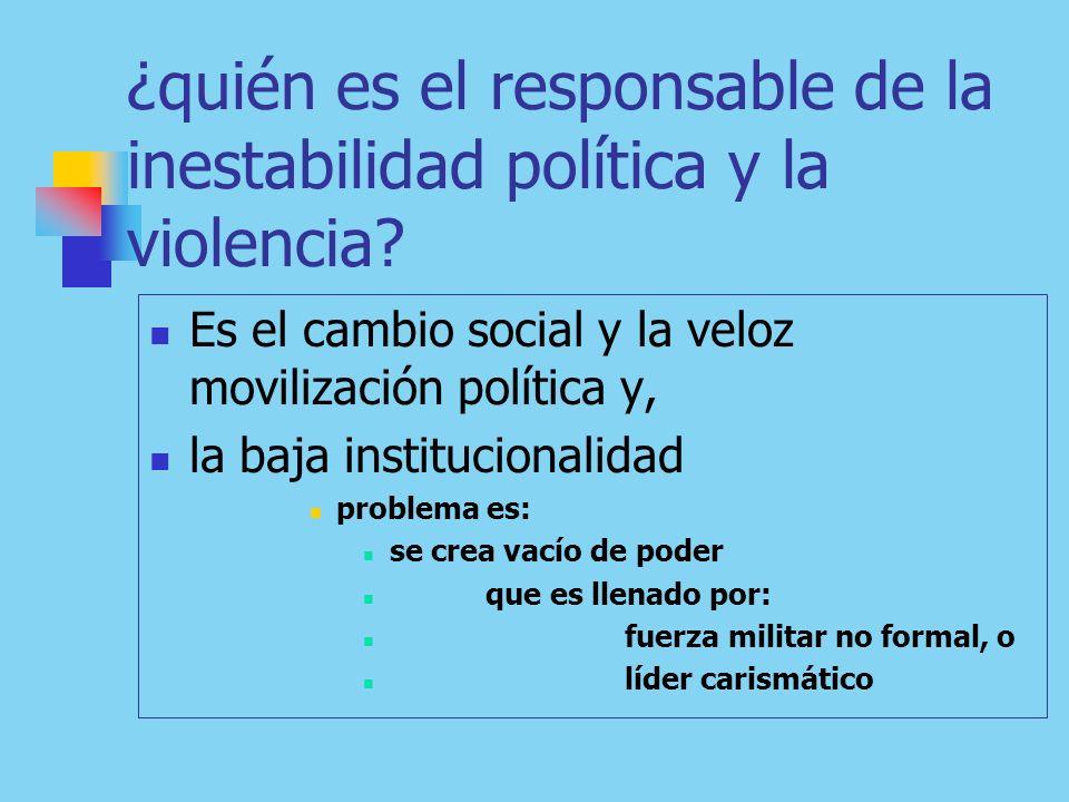 ¿quién es el responsable de la inestabilidad política y la violencia.