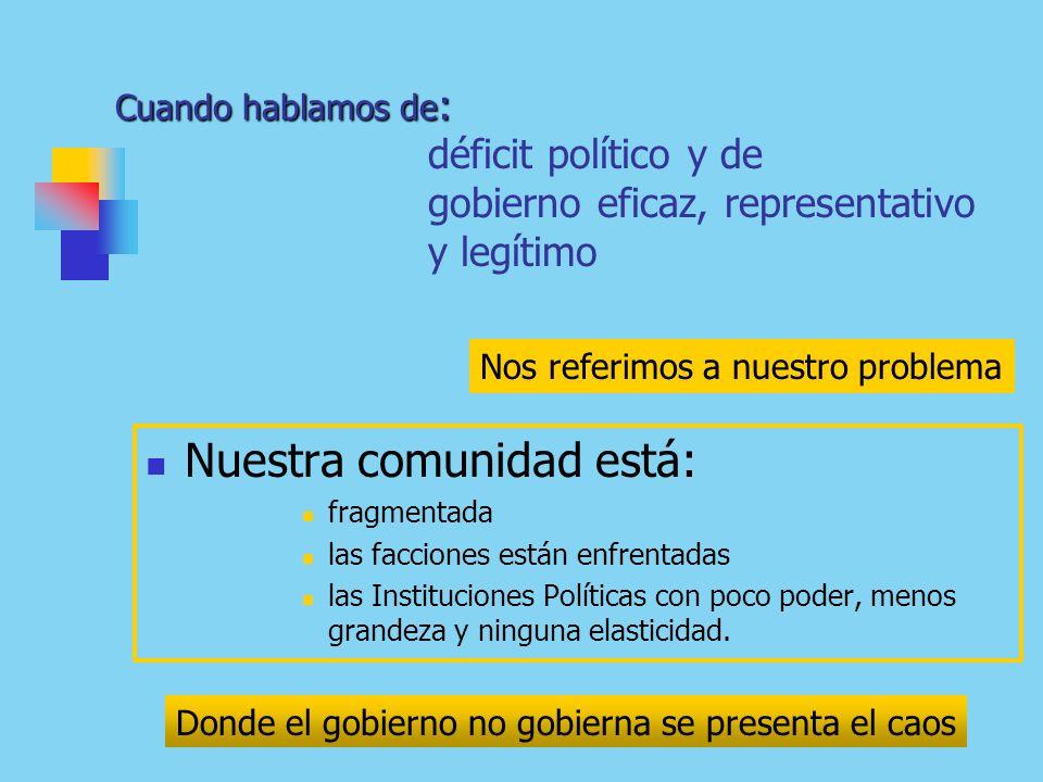 Cuando hablamos de : Cuando hablamos de : déficit político y de gobierno eficaz, representativo y legítimo Nuestra comunidad está: fragmentada las facciones están enfrentadas las Instituciones Políticas con poco poder, menos grandeza y ninguna elasticidad.