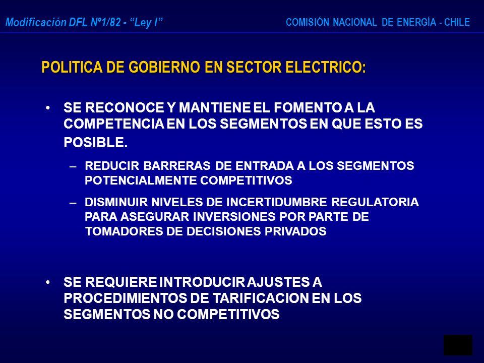 COMISIÓN NACIONAL DE ENERGÍA - CHILE Modificación DFL Nº1/82 - Ley I POLITICA DE GOBIERNO EN SECTOR ELECTRICO: SE RECONOCE Y MANTIENE EL FOMENTO A LA