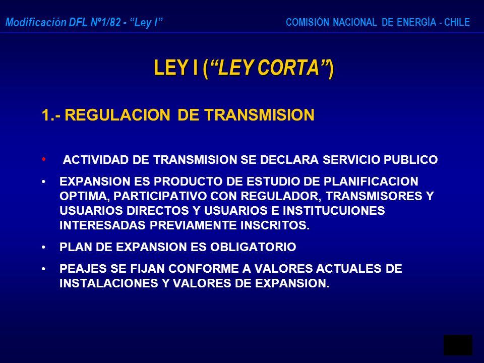 COMISIÓN NACIONAL DE ENERGÍA - CHILE Modificación DFL Nº1/82 - Ley I LEY I ( LEY CORTA ) LEY I ( LEY CORTA ) 1.- REGULACION DE TRANSMISION ACTIVIDAD D