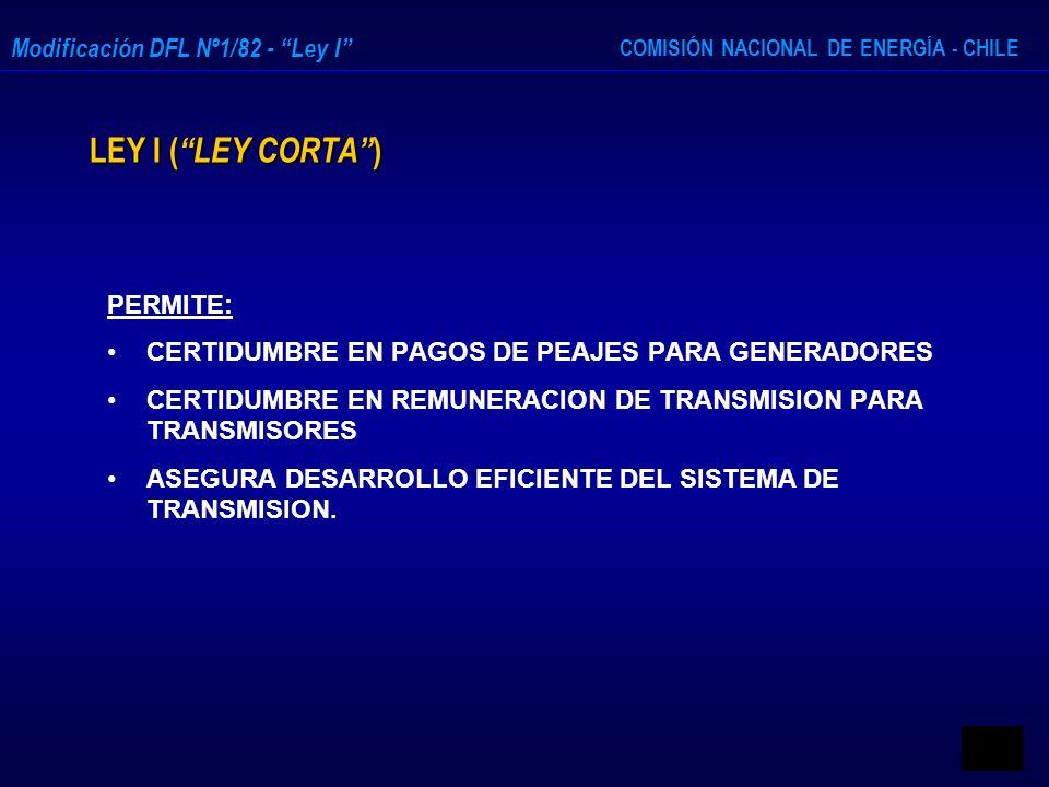 COMISIÓN NACIONAL DE ENERGÍA - CHILE Modificación DFL Nº1/82 - Ley I LEY I ( LEY CORTA ) PERMITE: CERTIDUMBRE EN PAGOS DE PEAJES PARA GENERADORES CERT