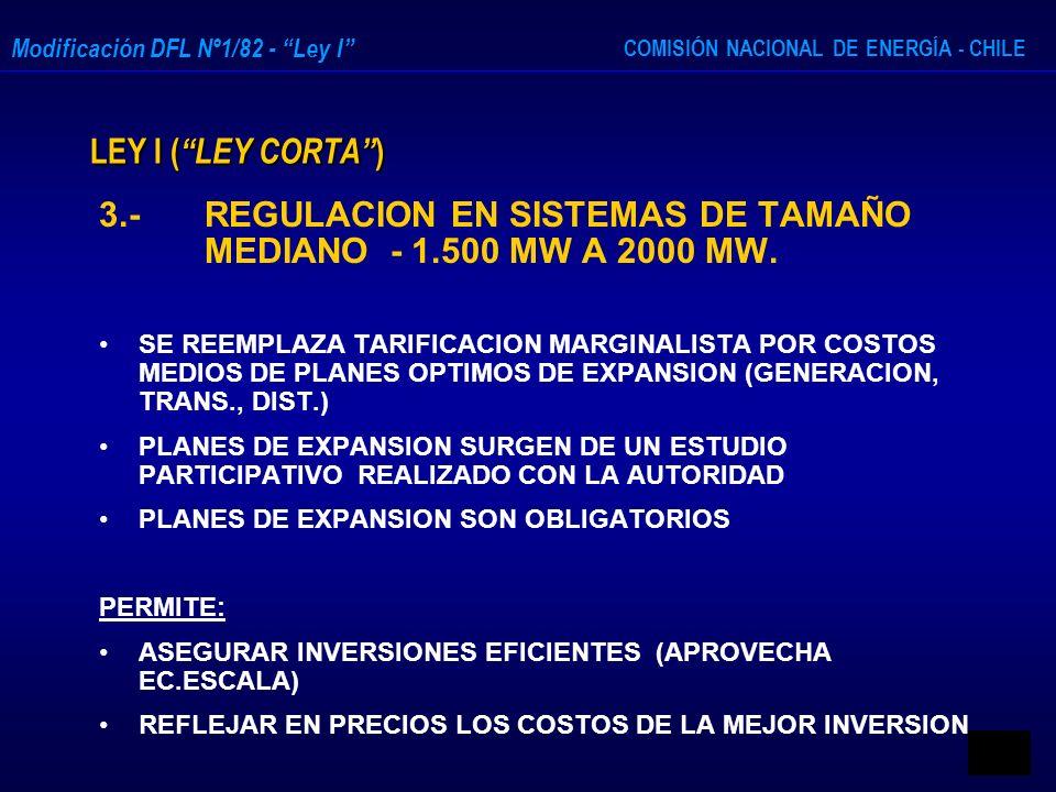 COMISIÓN NACIONAL DE ENERGÍA - CHILE Modificación DFL Nº1/82 - Ley I LEY I ( LEY CORTA ) 3.- REGULACION EN SISTEMAS DE TAMAÑO MEDIANO - 1.500 MW A 200