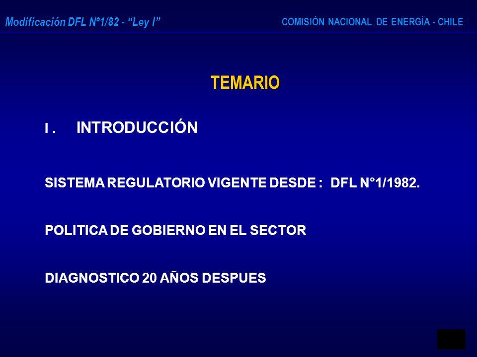 COMISIÓN NACIONAL DE ENERGÍA - CHILE Modificación DFL Nº1/82 - Ley I TEMARIO TEMARIO I. INTRODUCCIÓN SISTEMA REGULATORIO VIGENTE DESDE : DFL N°1/1982.