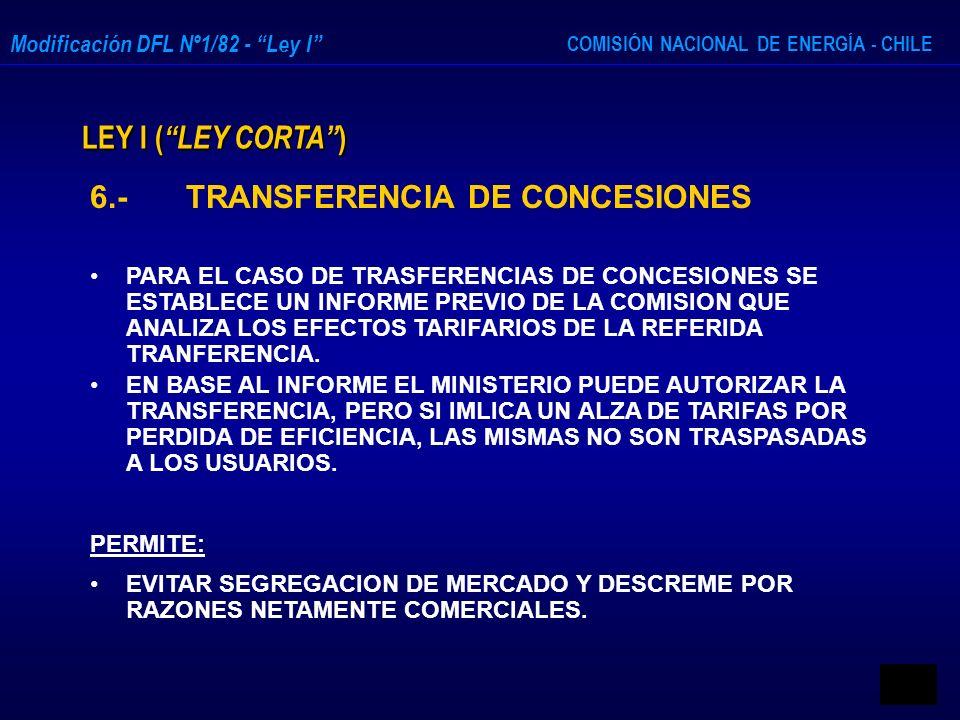 COMISIÓN NACIONAL DE ENERGÍA - CHILE Modificación DFL Nº1/82 - Ley I LEY I ( LEY CORTA ) 6.- TRANSFERENCIA DE CONCESIONES PARA EL CASO DE TRASFERENCIA