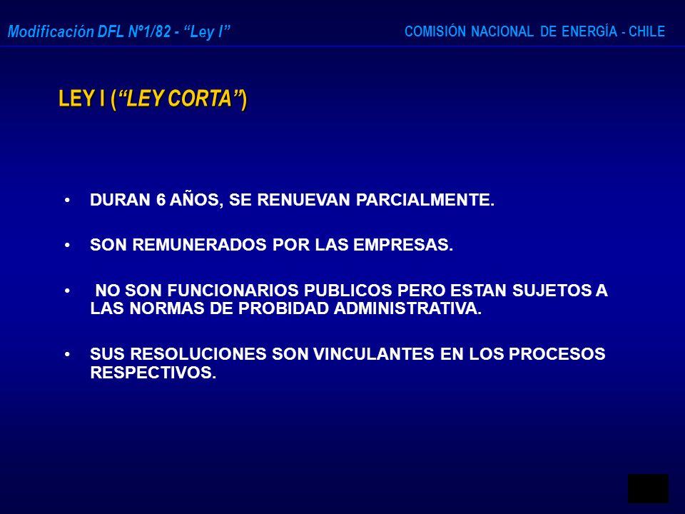 COMISIÓN NACIONAL DE ENERGÍA - CHILE Modificación DFL Nº1/82 - Ley I LEY I ( LEY CORTA ) DURAN 6 AÑOS, SE RENUEVAN PARCIALMENTE. SON REMUNERADOS POR L