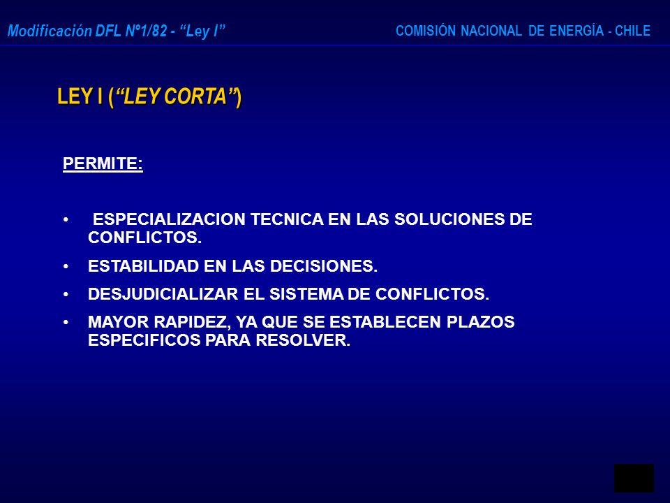 COMISIÓN NACIONAL DE ENERGÍA - CHILE Modificación DFL Nº1/82 - Ley I LEY I ( LEY CORTA ) PERMITE: ESPECIALIZACION TECNICA EN LAS SOLUCIONES DE CONFLIC