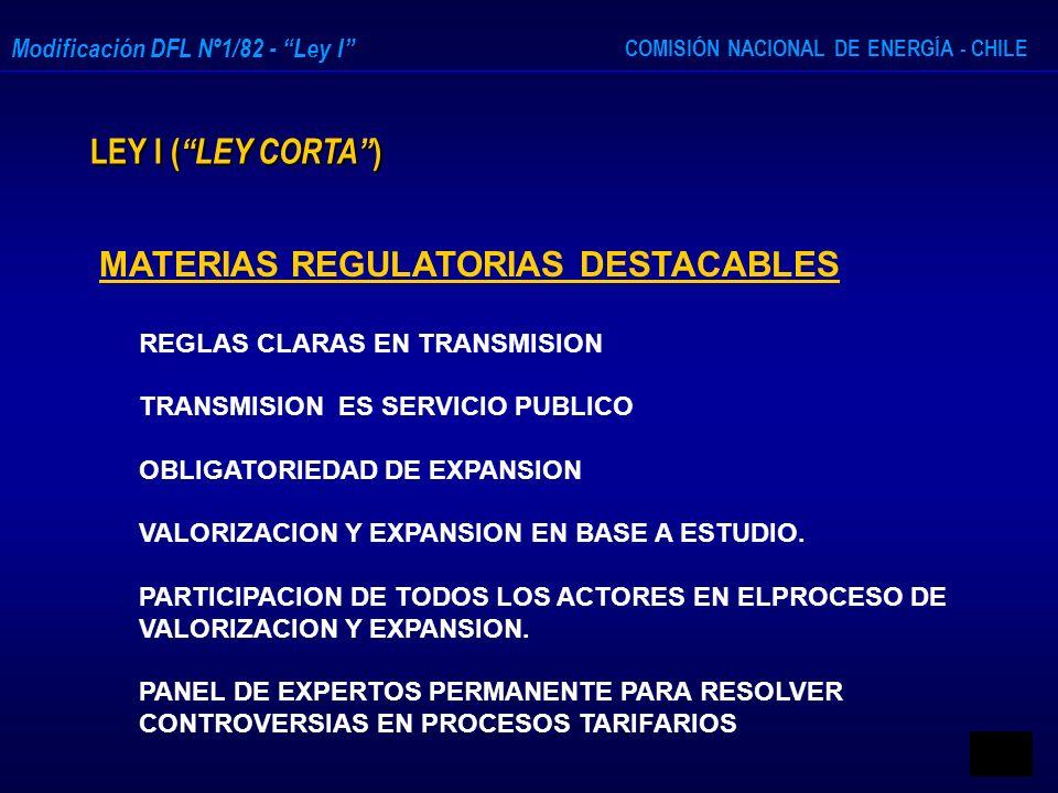 COMISIÓN NACIONAL DE ENERGÍA - CHILE Modificación DFL Nº1/82 - Ley I LEY I ( LEY CORTA ) MATERIAS REGULATORIAS DESTACABLES REGLAS CLARAS EN TRANSMISIO