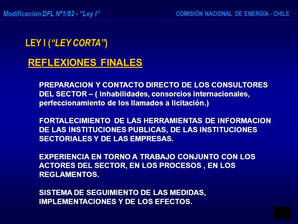 COMISIÓN NACIONAL DE ENERGÍA - CHILE Modificación DFL Nº1/82 - Ley I LEY I ( LEY CORTA ) REFLEXIONES FINALES PREPARACION Y CONTACTO DIRECTO DE LOS CON