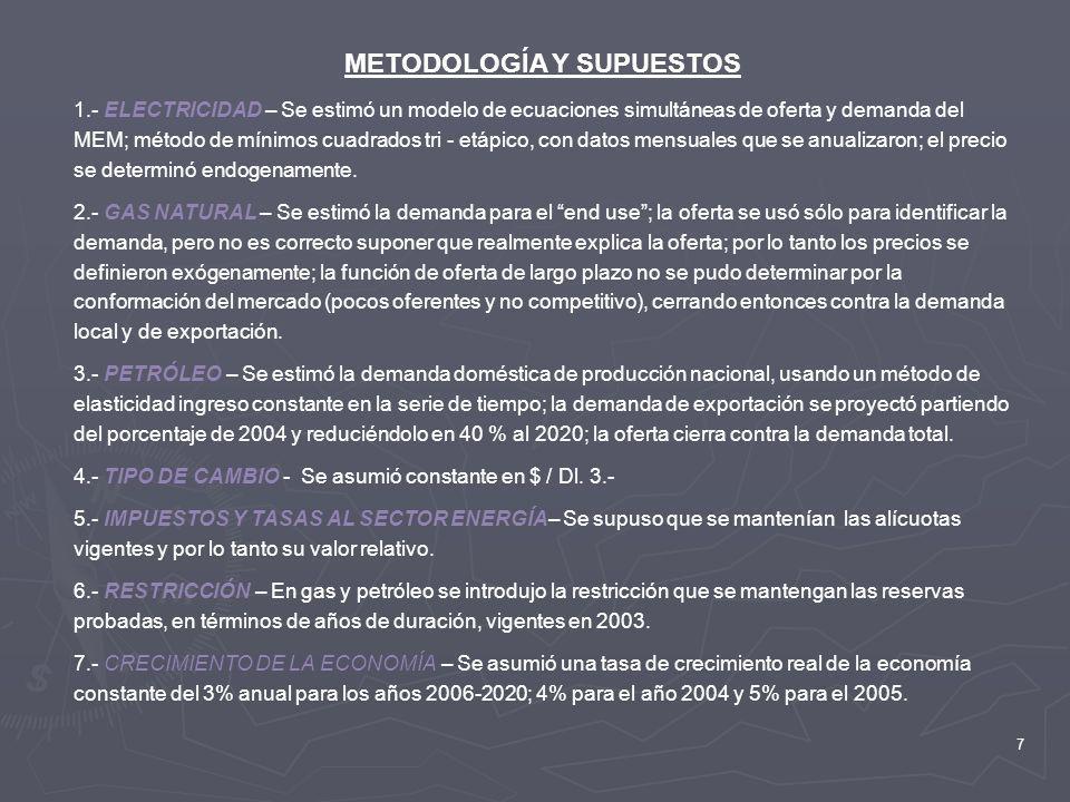 7 METODOLOGÍA Y SUPUESTOS 1.- ELECTRICIDAD – Se estimó un modelo de ecuaciones simultáneas de oferta y demanda del MEM; método de mínimos cuadrados tr