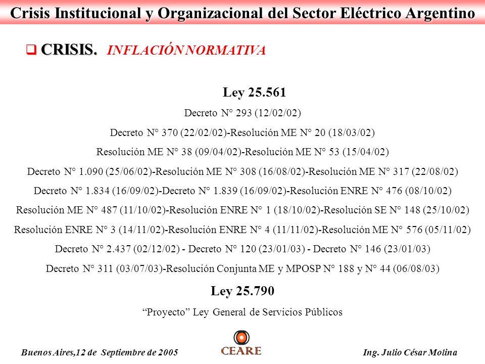 Crisis Institucional y Organizacional del Sector Eléctrico Argentino Ley 25.561 Decreto N° 293 (12/02/02) Decreto N° 370 (22/02/02)-Resolución ME N° 2