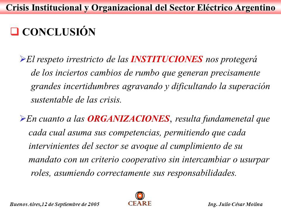 Crisis Institucional y Organizacional del Sector Eléctrico Argentino Buenos Aires,12 de Septiembre de 2005 Ing. Julio César Molina El respeto irrestri