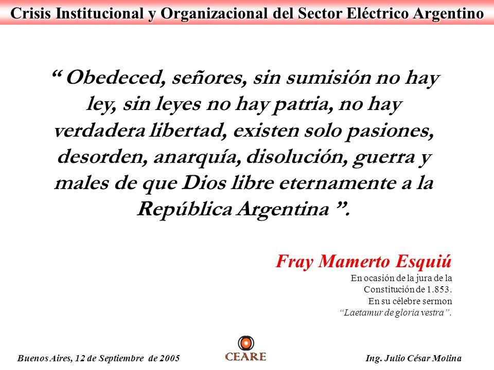Crisis Institucional y Organizacional del Sector Eléctrico Argentino Buenos Aires, 12 de Septiembre de 2005 Ing. Julio César Molina Obedeced, señores,