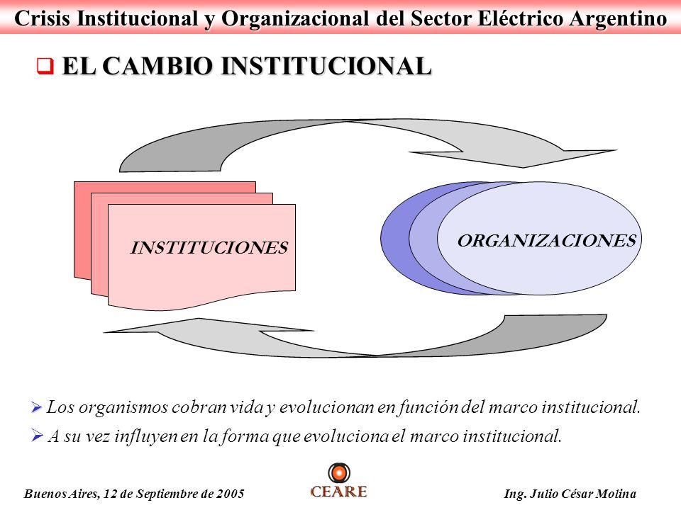 Crisis Institucional y Organizacional del Sector Eléctrico Argentino Buenos Aires, 12 de Septiembre de 2005 Ing. Julio César Molina Los organismos cob
