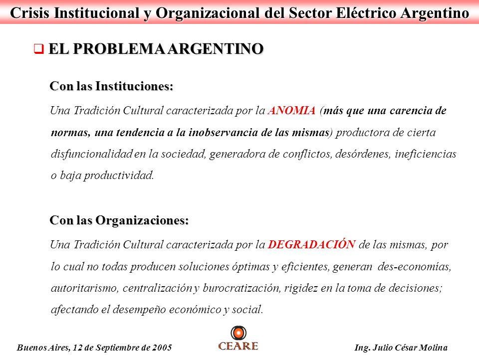Crisis Institucional y Organizacional del Sector Eléctrico Argentino EL PROBLEMA ARGENTINO Con las Instituciones: Con las Instituciones: Una Tradición
