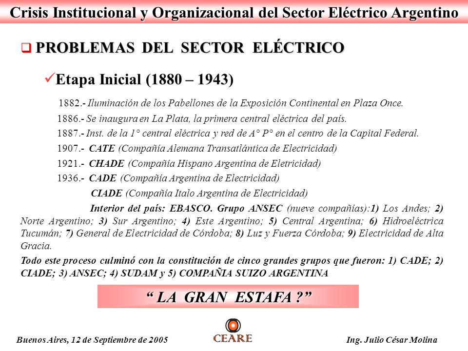 Crisis Institucional y Organizacional del Sector Eléctrico Argentino PROBLEMAS DEL SECTOR ELÉCTRICO PROBLEMAS DEL SECTOR ELÉCTRICO Etapa Inicial (1880