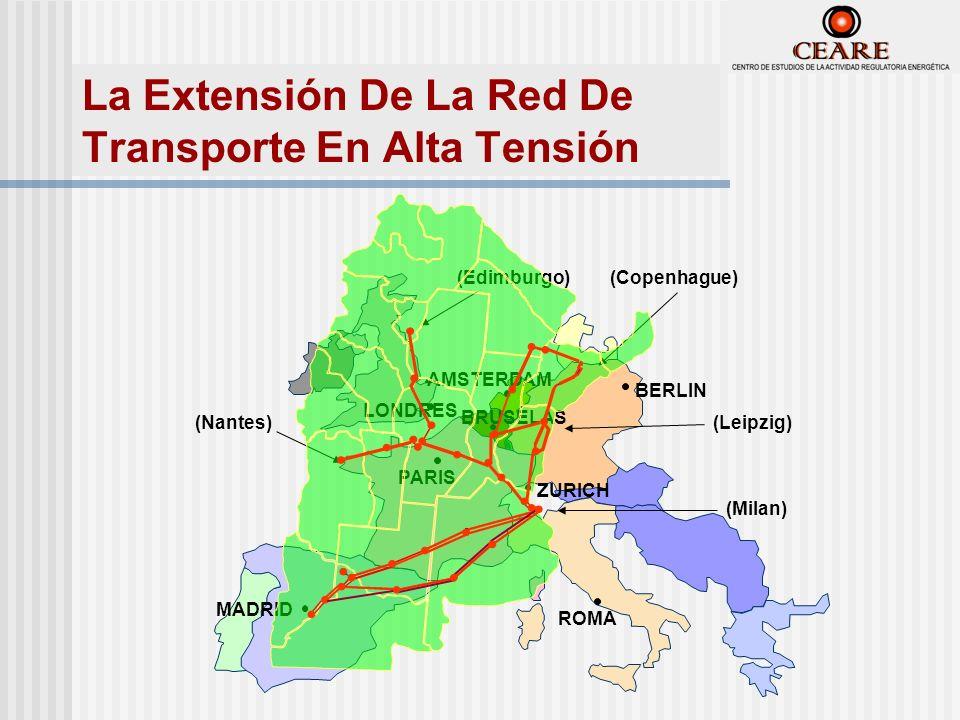 (Nantes) (Edimburgo)(Copenhague) (Leipzig) (Milan) MADRID PARIS ROMA LONDRES BERLIN BRUSELAS ZURICH AMSTERDAM La Extensión De La Red De Transporte En Alta Tensión
